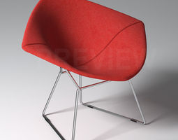 bertoia diamond armchair with full cover - knoll 3d model max obj fbx
