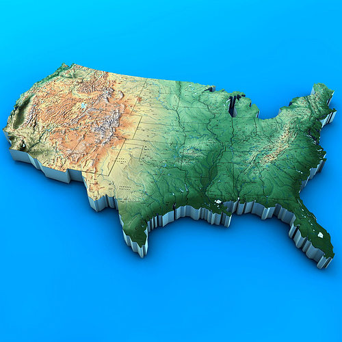 3d Map Of Us.3d Usa Map Cgtrader