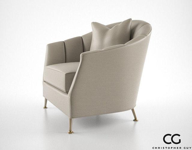 High Quality ... Christopher Guy Alexandrine Droite Armchair 3d Model Max Obj Fbx Mtl 3  ...