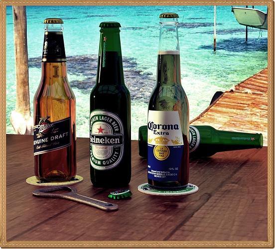 beer bottles 3d model low-poly obj mtl fbx blend 1