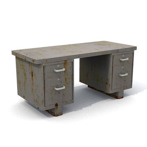 old rusty office desk 3d model low-poly obj mtl fbx lwo lw lws 1