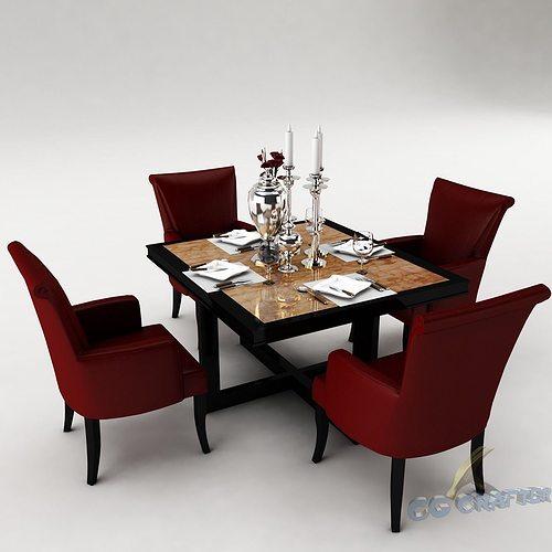 dining table set 3d model max obj 3ds fbx mtl 21 & Dining table Set 3D model room | CGTrader
