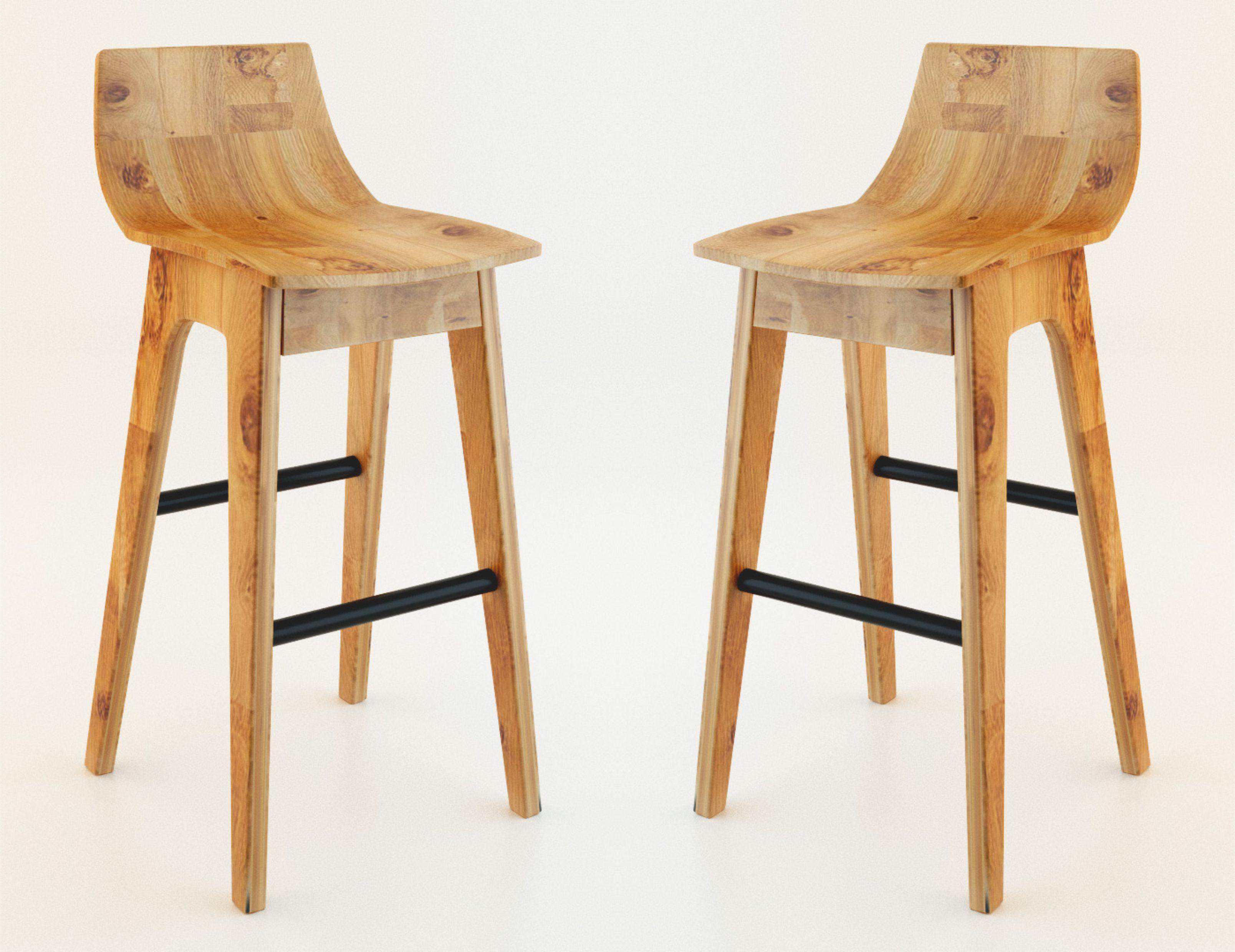 wooden bar stool 3D