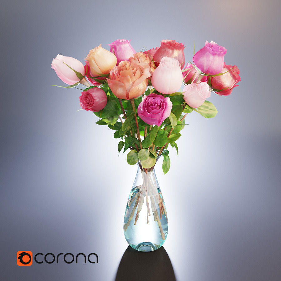 A bouquet of roses in a vase 3d cgtrader a bouquet of roses in a vase 3d model max obj fbx mtl 1 floridaeventfo Choice Image