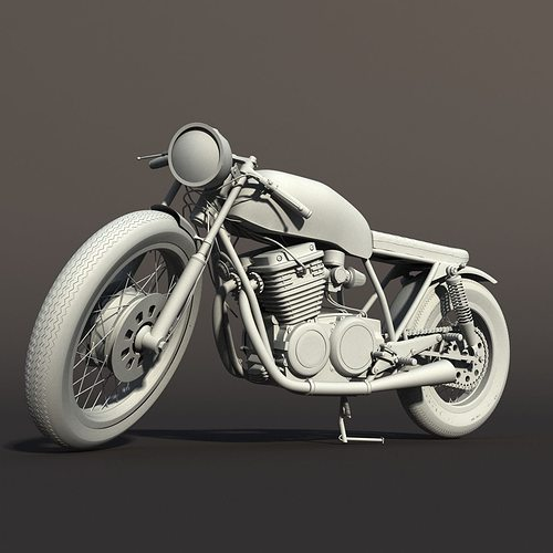 cafe racer motorcycle 3d model rigged max obj mtl 1