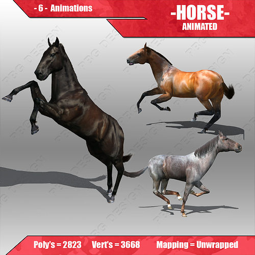 horse animated 3d model low-poly rigged animated max fbx 1