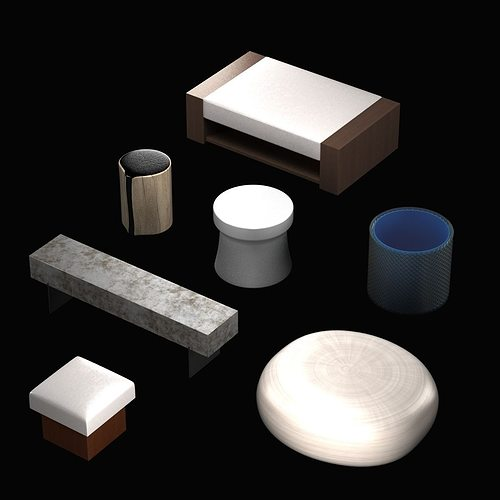 pouf and table collection 3d model max obj mtl 3ds fbx 1