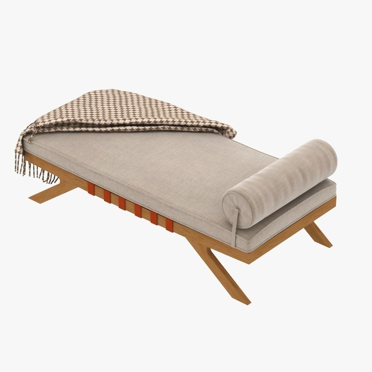 Mid century chaise lounge 3d model max obj 3ds fbx for Chaise modele