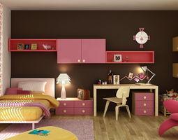 Bedroom for little girl 3D