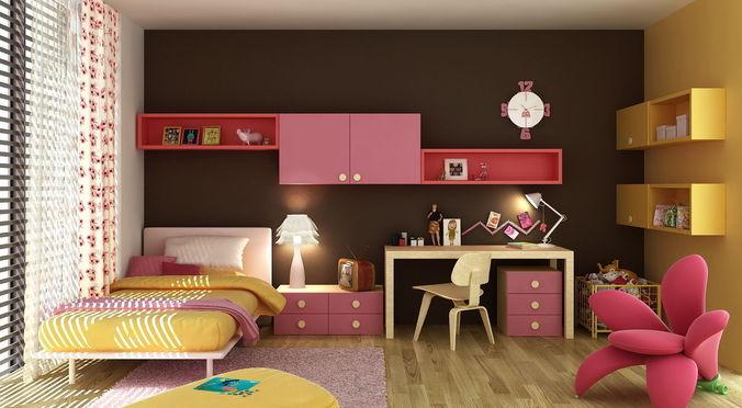 bedroom for little girl 3d model max fbx 1