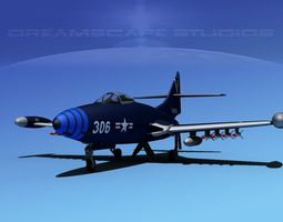 rigged 3d model grumman f9f-5 panther usn 3