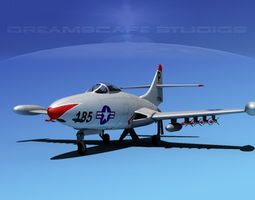 grumman f9f-5 panther usn 4 rigged 3d model