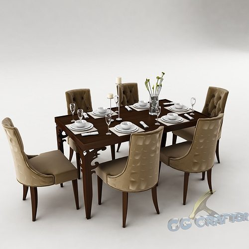 Dining table set 40 3d model max obj 3ds fbx mtl for Dining room table 3ds max