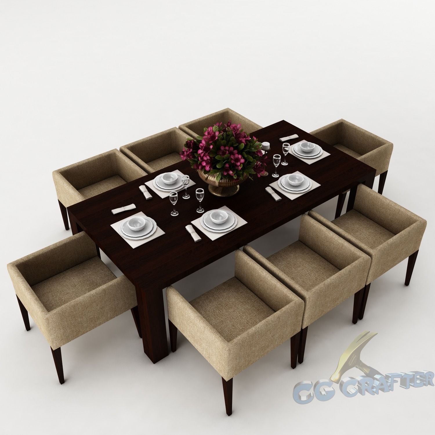 Dining table Set saloon 3D model