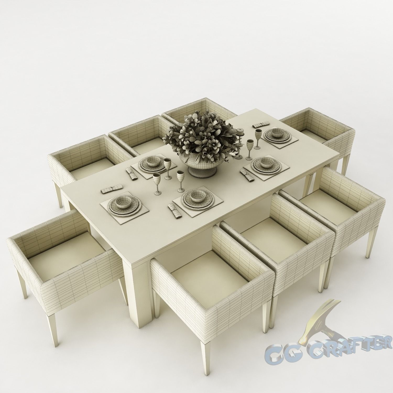 Dining table set 43 3d model max obj 3ds fbx mtl for Dining room table 3ds max