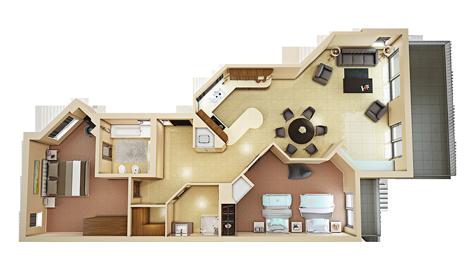 3d floor plan 4 cgtrader for New home models and plans