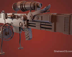 Highpoly Steampunk Rifle 3D model