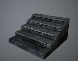 old stairs low-poly 3d asset
