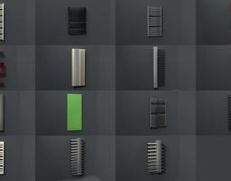 bathroom radiators heating blocks collection 3d model low-poly