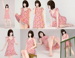 3D 8 poses of Mariko in pink dress