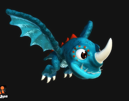 cartoon dragon 3d asset game-ready animated