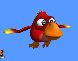 3D asset Red Cartoon Bird