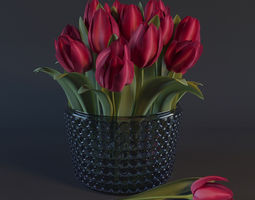 red tulips 3d model