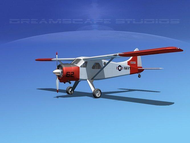 dehaviland dh-2 beaver navy 3d model max obj mtl 3ds lwo lw lws dxf stl 1
