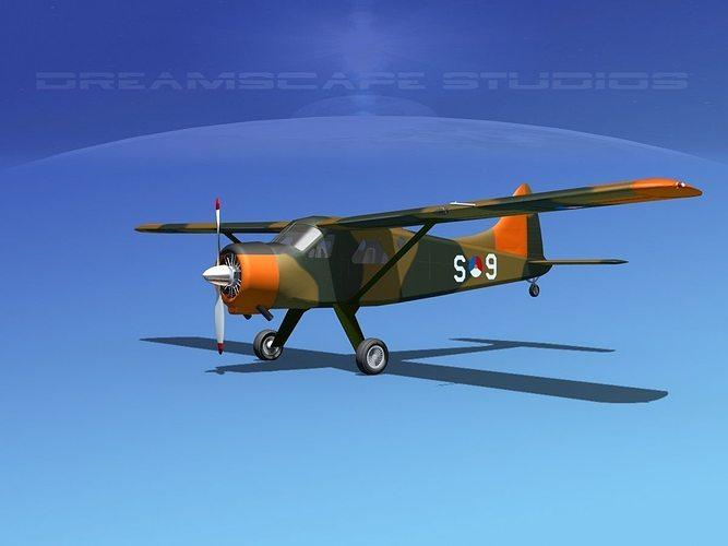 dehaviland dh-2 beaver rdaf 3d model max obj mtl 3ds lwo lw lws dxf stl 1