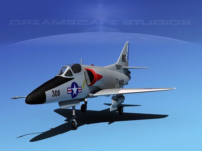 douglas a-4d skyhawk v06 usn 3d model max obj mtl 3ds lwo lw lws dxf stl 1