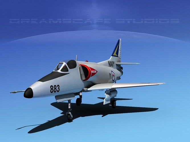 douglas a-4d skyhawk v09 ran 3d model max obj mtl 3ds lwo lw lws dxf stl 1