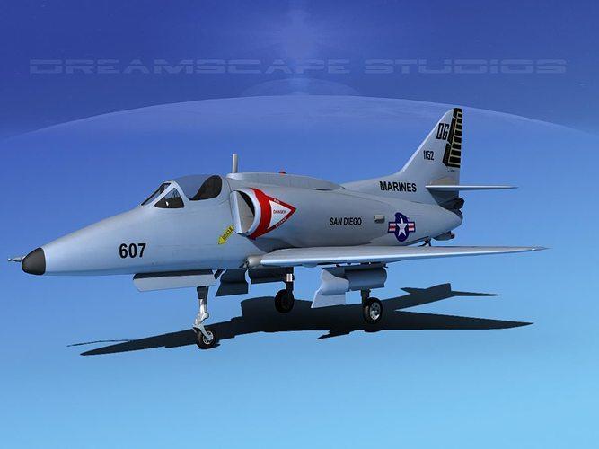 douglas a-4g skyhawk v03 usmc 3d model max obj 3ds lwo lw lws dxf stl 1