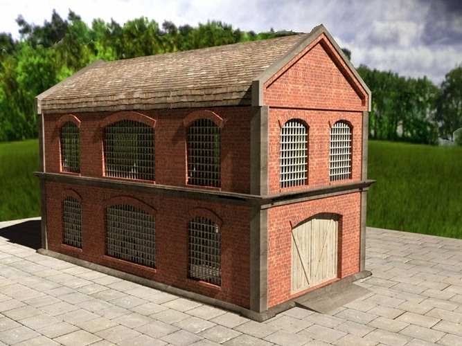 3d Timber Brick Warehouse Cgtrader