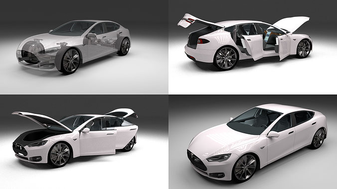 tesla model s with chassis and interior 3d model obj mtl fbx stl blend dae 1