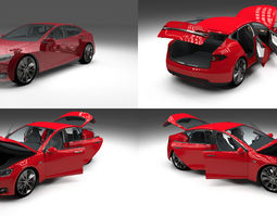 tesla model s with chassis and interior red 3d