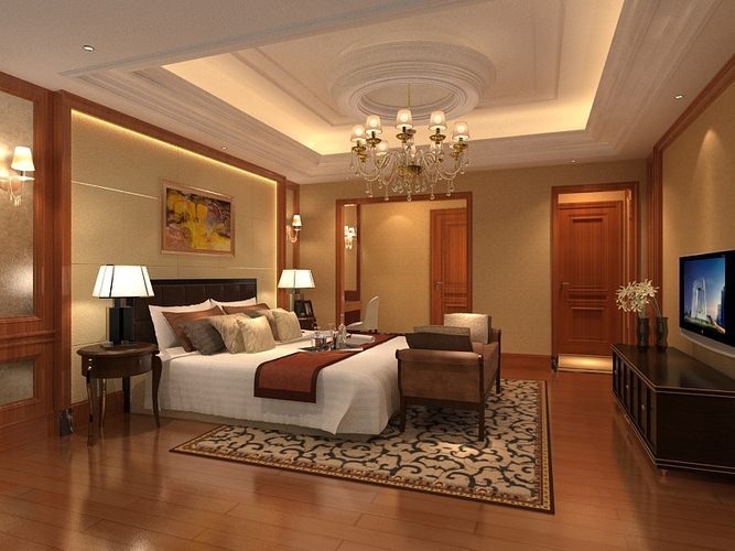 Bedroom or hotel room om046 3d cgtrader for Model bedroom interior design