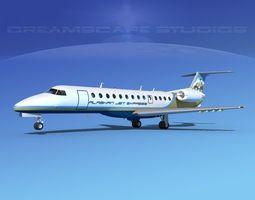 3D model rigged Embraer ERJ-135 Alaskan Jet