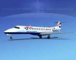 Embraer ERJ-135 British Airways 3D model rigged