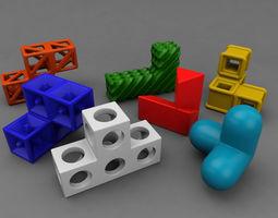soma cube puzzle game 3d model fbx ma mb stl