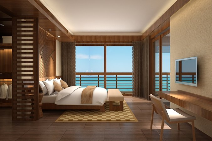Ocean view bedroom 100 3d model cgtrader for Bedroom designs 3d model