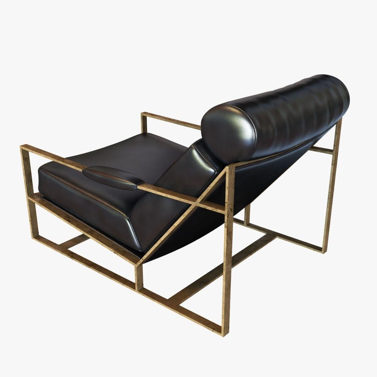 ... Milo Baughman Rare Bronze Frame Black Leather Lounge Chair 3d Model Max  Obj 3ds Fbx Mtl ...