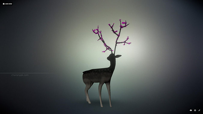 deer with flowers 3d model obj mtl 1