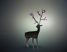 3D Deer with Flowers