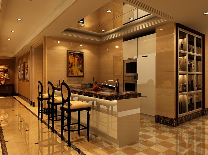 3d Kitchen With Breakfast Bar Om042 Cgtrader