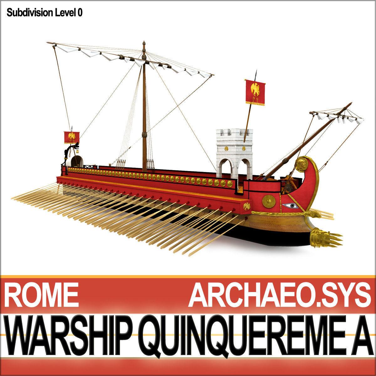 Roman Warship Quinquereme A 3d Model Obj 3ds C4d Vue