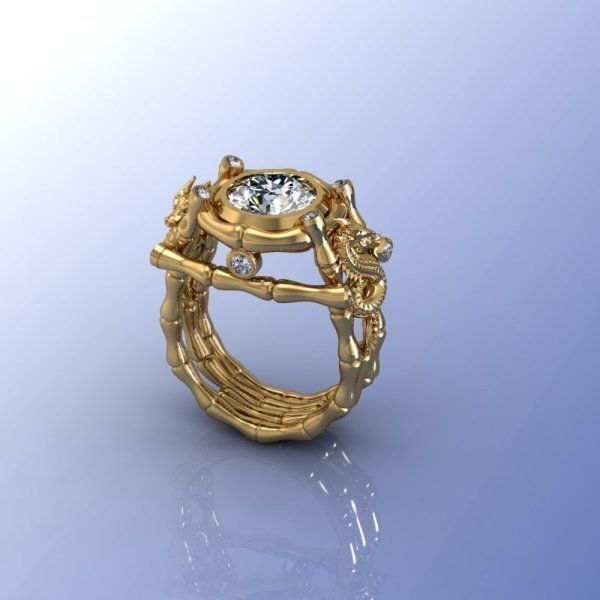 Bamboo Ring With Dragon 3d Model 3d Printable Obj Stl 3dm