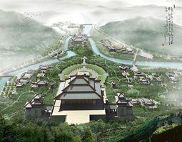 China Taoism Temple 2 3D