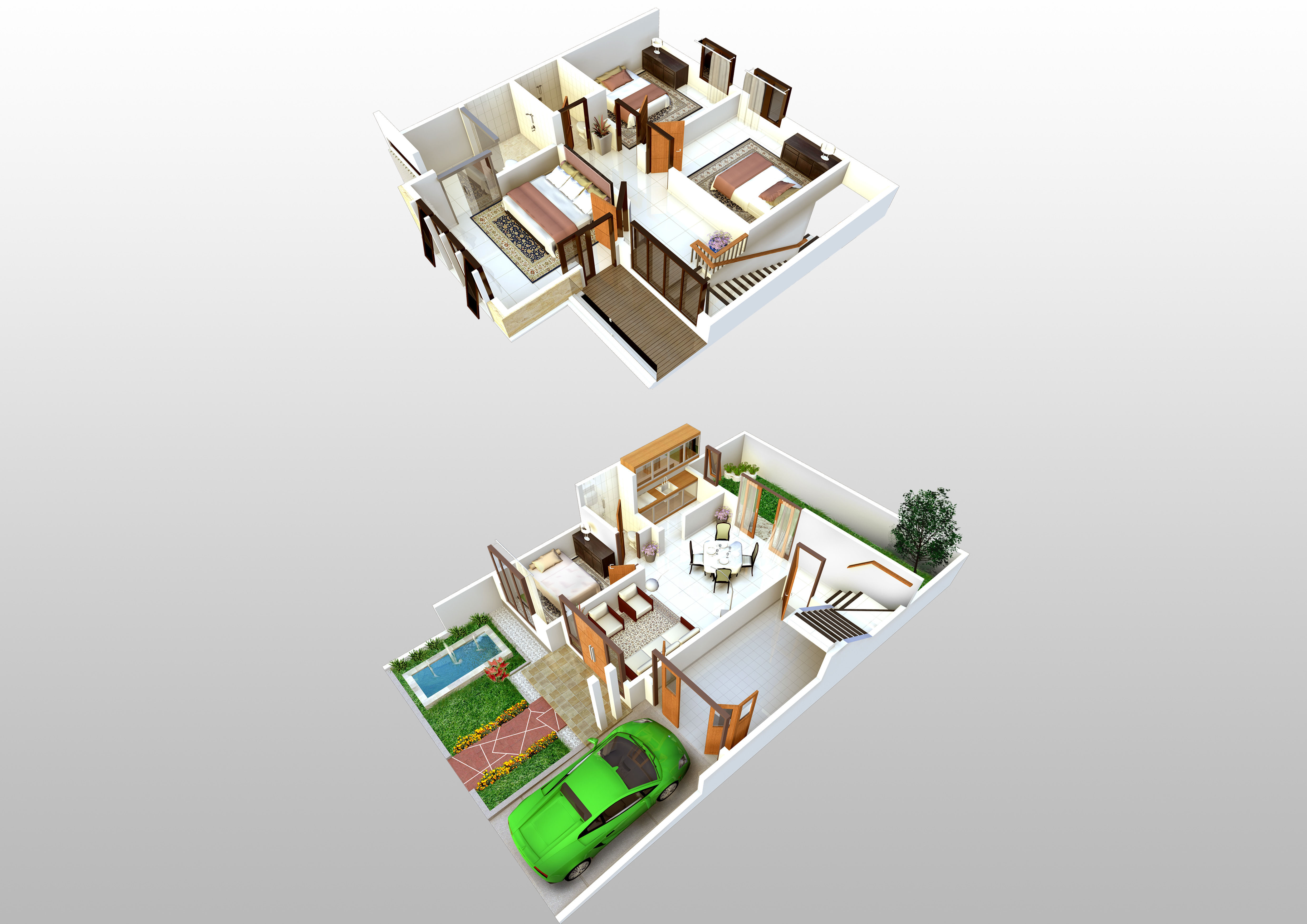 3d Floorplan Of 2 Storey House Model Skp 1