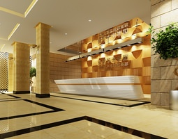 3d model hotel or office building lobby