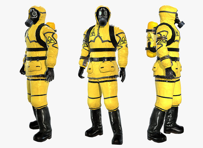 man in protective hazmat suit 3d model low-poly rigged max obj mtl 3ds fbx 1